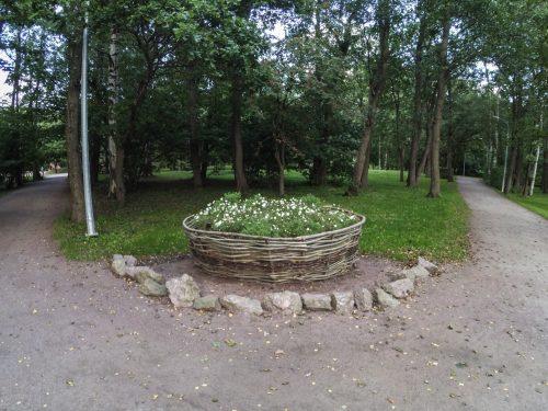 Клумба декорированная изгородью