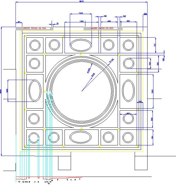 Проект (чертеж) подвесного потолка из гипсокартона.  6м х 6м.  Двухуровневый потолок.